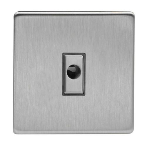 Varilight XDSFODS Screwless Brushed Steel 1 Gang 16A Flex Outlet Plate
